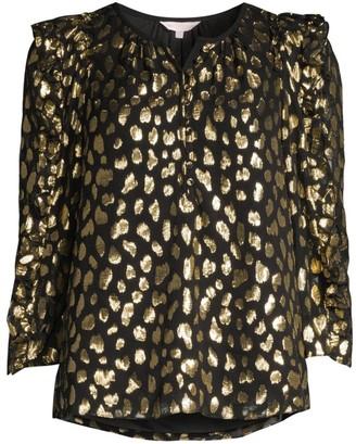 Rebecca Taylor Metallic Leopard-Print Blouse