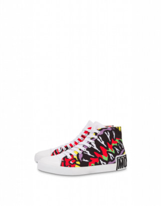 Moschino Funny Monster High Sneakers Man Red Size 39 It - (6 Us)