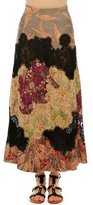 Valentino Patchwork Suede A-Line Maxi Skirt, Multi Colors