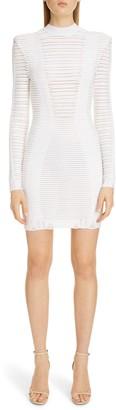 Balmain Sheer Stripe Long Sleeve Sweater Minidress