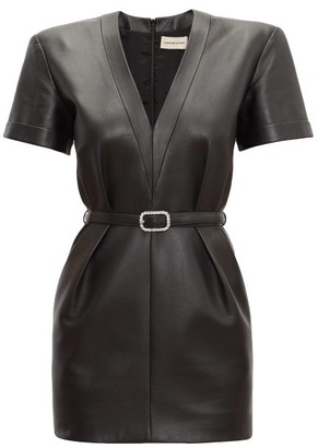 Alexandre Vauthier V-neck Leather Dress - Womens - Black