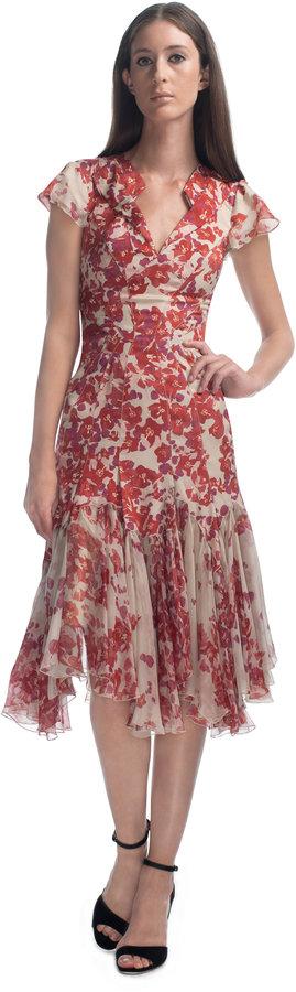 Zac Posen Hibiscus Printed Ruffle Collar Cocktail Dress