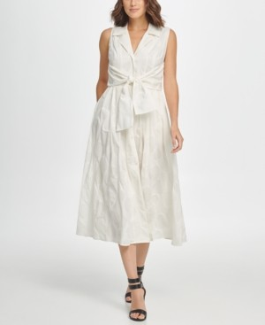 DKNY Tie Waist Sleeveless Shirtdress