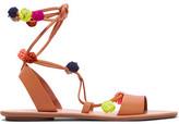 Loeffler Randall Pompom-Embellished Leather Sandals