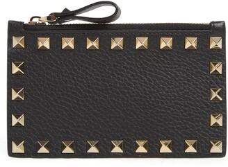 Valentino Rockstud Leather Zip Card Case