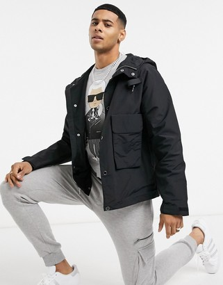 Karl Lagerfeld Paris nylon cropped hooded jacket with pocket & logo