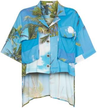 Natasha Zinko Hawaiian Print Dip Hem Shirt