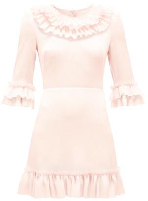 The Vampire's Wife The Gloria Ruffle-trim Stretch-silk Mini Dress - Light Pink