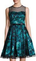 Chetta B Illusion-Neck Floral-Print Full Dress, Green