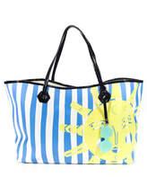 Jonathan Adler Blue White Yellow Striped Leather Sun Graphic Beach Tote Handbag