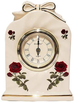 Golden Bell Ceramic Silent Non-Ticking Roman Numeral Rose Desk Alarm Clock
