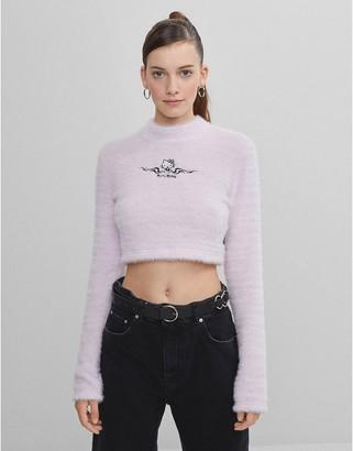 Bershka x Hello Kitty fluffy crop jumper in pink