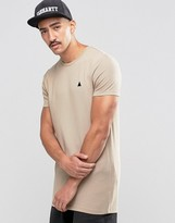 Asos Muscle Longline T-Shirt With Embroidery In Beige