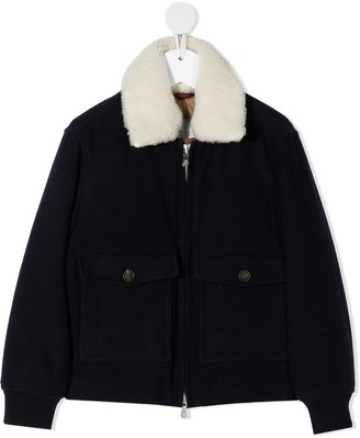 BRUNELLO CUCINELLI KIDS Shearling Collar Bomber Jacket