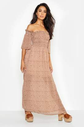 boohoo Woven Spot Sheered Maxi Dress