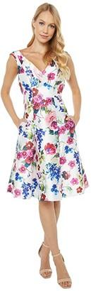 Adrianna Papell Floral Mikado Midi Dress (White Multi) Women's Dress