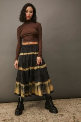 Urban Outfitters Penelope Prairie Midi Skirt - Black XS at
