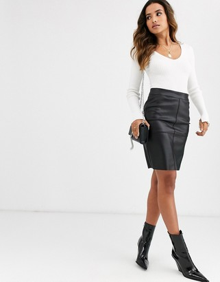 Vero Moda faux leather skirt-Black