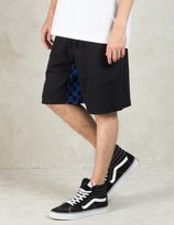 Hall of Fame Black Checked Gusset Shorts