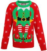 Kids elf Christmas Jumper knitted jumper-Xmas elf Boys-girls Sweater-5-6