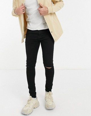 ASOS DESIGN spray on jeans in power stretch denim in black with knee rip