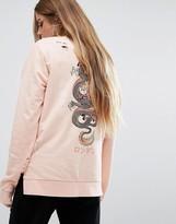 Criminal Damage Oversized Long Sleeve Sweat T-Shirt With Dragon Back Print