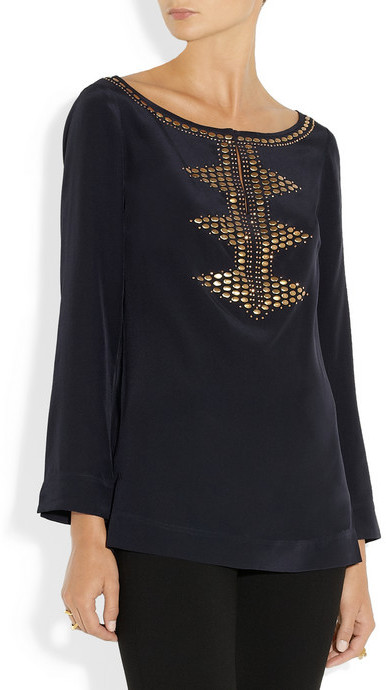 Tory Burch Samantha embellished silk crepe de chine tunic