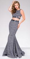 Jovani Glitter Jersey Cut Out Two Piece Prom Dress