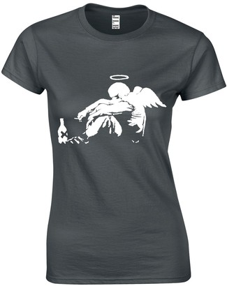 JLB Print Drunken Angel Silhouette Street Artist Inspired Premium Quality Fitted T-Shirt Top for Women and Teens Black