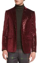 Etro Sequined Two-Button Sport Coat, Burgundy