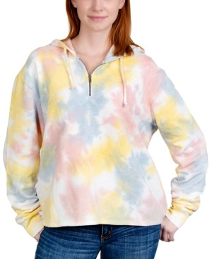 Rebellious One Juniors' Tie-Dye Half-Zip Hoodie Sweatshirt