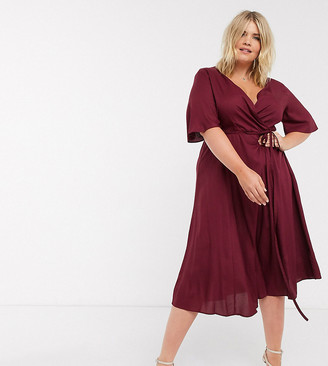 Simply Be skater midi dress with flutter sleeve in burgundy
