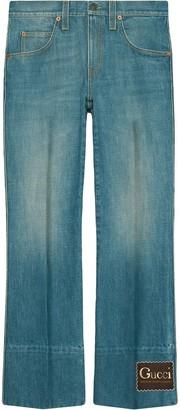 Gucci Logo-Patch Bootcut Jeans