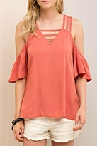 Entro Cold Shoulder V Neck Top