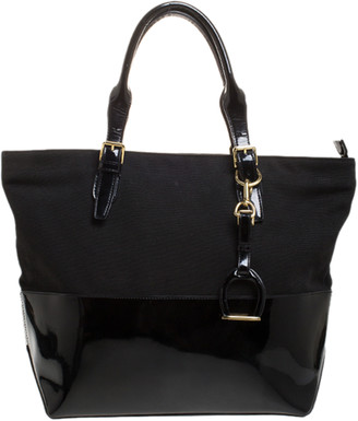 Ralph Lauren Black Patent Leather and Canvas Shopper Tote