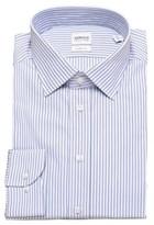 Giorgio Armani Collezioni Men Slim Fit Cotton Dress Shirt Blue Pinstriped.