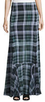 McQ Flared Fluid Plaid Silk Maxi Skirt, Green