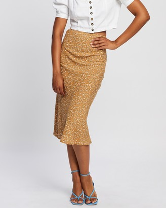 All About Eve Women's Gold Midi Skirts - Harper Midi Skirt - Size One Size, 12 at The Iconic