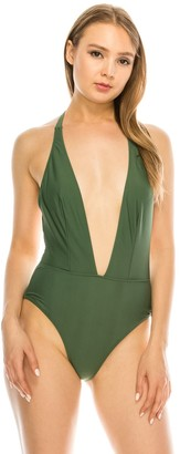 KENDALL + KYLIE Women's Kendall & Kylie Plunge Halter One-Piece Swimsuit