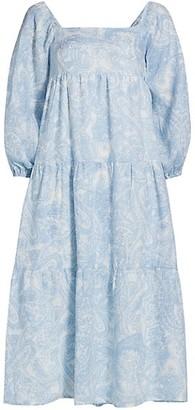 Faithfull The Brand Le Temps Des Fleur Alison Puff-Sleeve Midi Dress