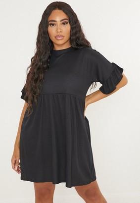 Missguided Plus Size Black Rib Frill Sleeve Smock Dress