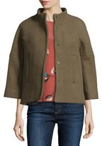 BA&SH Tobias Short 3/4-Sleeve Wool-Blend Coat