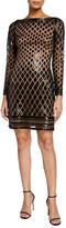 Sho Geometric Sequin Long-Sleeve Mini Dress