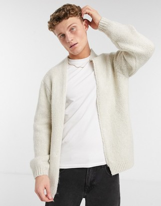ASOS DESIGN knitted edge to edge cardigan in oatmeal fluffy yarn