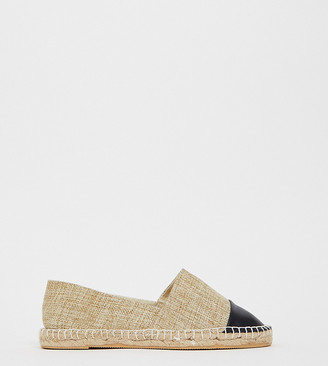 London Rebel wide fit toe cap espadrilles