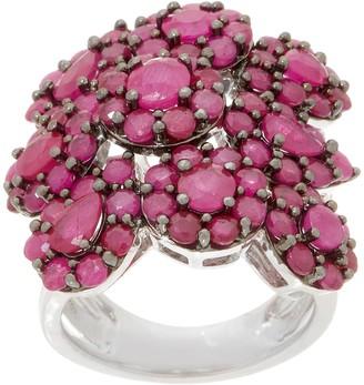 Sterling Silver Precious Gemstone Flower Cluster Ring, 4.50 cttw