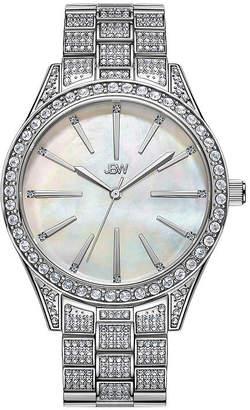 JBW Cristal Gem 1/8 C.T. T.W. Genuine Diamond Womens Diamond Accent Silver Tone Stainless Steel Bracelet Watch-J6382c