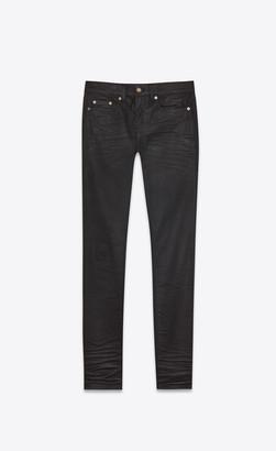 Saint Laurent Coated Skinny Denim Pants Coated Black 29