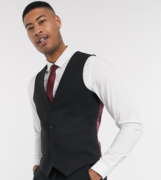 ASOS DESIGN Tall super skinny suit waistcoat in four way stretch in black