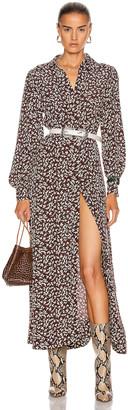 Ganni Printed Crepe Dress in Decadent Chocolate | FWRD